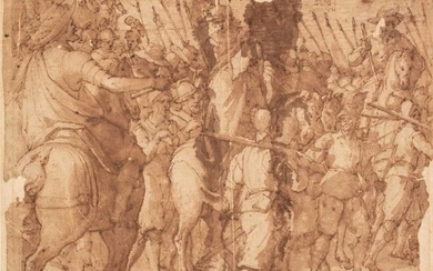 Italian School, Battle Procession with Pikebearers, pen and brown ink and wash