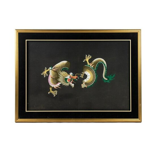 Large Chinese Silk Embroidered Dragon Framed