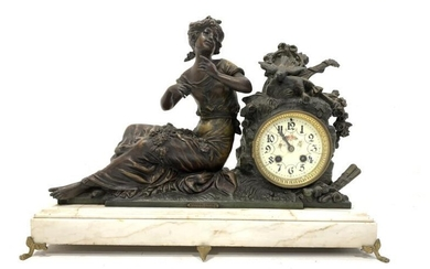 Late Victorian figural spelter mantle clock signed Mourey, white...