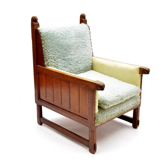 Mahogany wooden armchair with decoration of animal figures,...