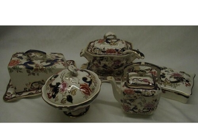 Mason's Mandalay pattern sauce tureen and cover with ladle a...