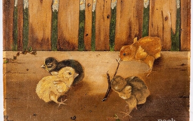 Oil on artist board of chicks, dated 1896