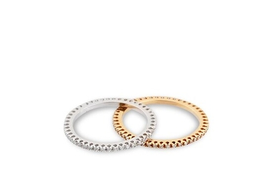 *PAIR OF GOLD AND DIAMOND RINGS