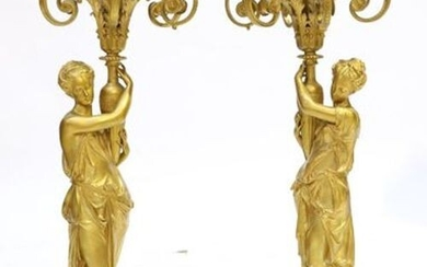 PAIR OF SIX LIGHT Candelabra in gilt bronze decorated with...