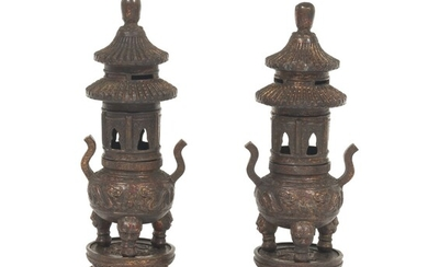 Pair of Chinese Patinated Bronze Copper Alloy with Gilt and Painted Three-Part Incense Burner, Qianlong Seal-Marks