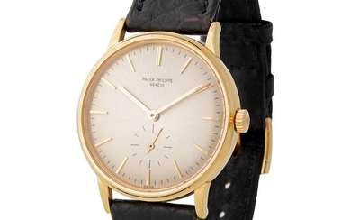 Patek Philippe. Fine and Elegant Calatrava Automatic Wristwatch in Yellow Gold, Reference 3561, With Small Seconds and Extract from Archives