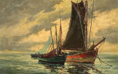 """Pierre BOGDANOFF (XX) """"Concarneau, fishing boat at the front port"""" hst sbd 46x61"""