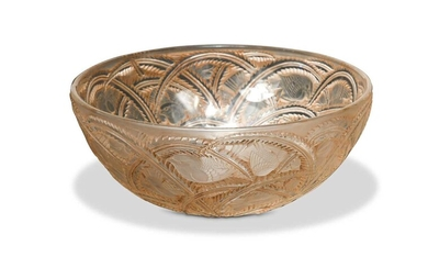 Pinsons, a Lalique clear, frosted and brown heightened glass bowl