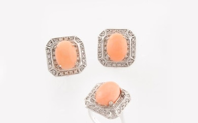 RING AND PAIR OF CORAL, DIAMOND AND GOLD EARRINGS