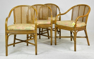 Set of 4 Tiki Style Rattan & Wicker Dining Chairs