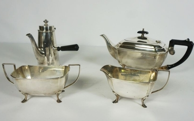Silver Plate 4 Piece Tea and Coffee Service comprising of Tea Pot, Coffee Pot with wooden handle