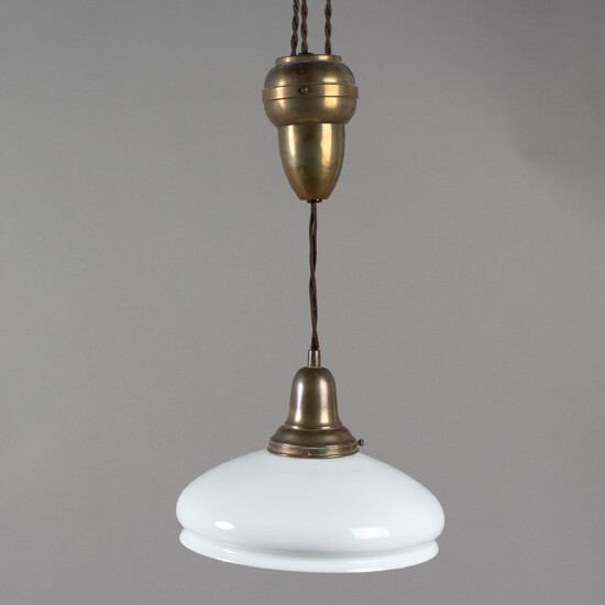 Small pendant lamp with glass shade, 1. Quarter of the 20th century.