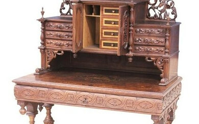VICTORIAN WING GRIFFIN OAK INLAID WRITING DESK