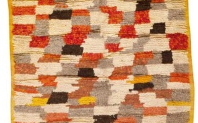 VINTAGE MID CENTURY MOROCCAN RUG. 8 ft 8 in x 4 ft 5 in ( 2.64 m x 1.35 m).