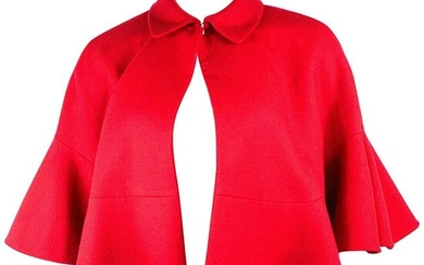 Vintage Christian Dior Red Wool Cape Poncho Size 8