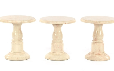 (-), 3 marble side tables, 45 cm high...