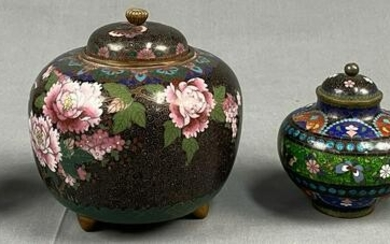 4 lidded vessels. Cloisonne. Probably China old.
