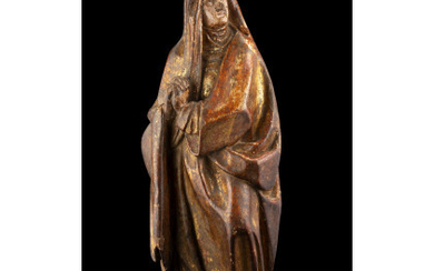 """A 16th-century painted and partially gilded wooden sculpture representing """"Praying Madonna"""" (h. cm 60) (defects and restorations)Read more"""