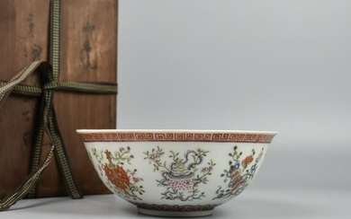 A CHINESE FAMILL-ROSE PORCELAIN BOWL WITH Eight