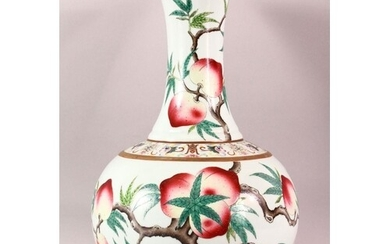 A CHINESE FAMILLE ROSE PORCELAIN PEACH VASE, the body painte...