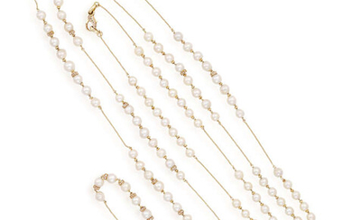 A CULTURED PEARL AND DIAMOND LONG CHAIN NECKLACE...