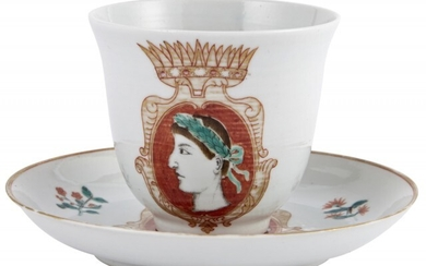 A Chinese Porcelain Cup and Saucer Made for the Italian Market