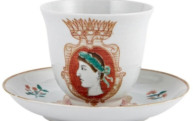 A Chinese Porcelain Cup and Saucer Made for the Italian