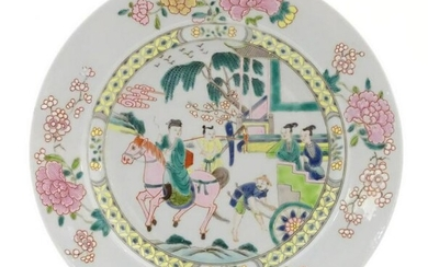 A Chinese famille rose plate depicting a landscape