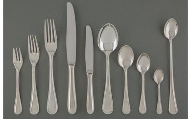 A Christofle Hote; Albi Pattern Silver-Plated Flatware Service (20th century)