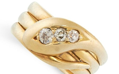 A DIAMOND SNAKE RING, 1924 in 18ct yellow gold