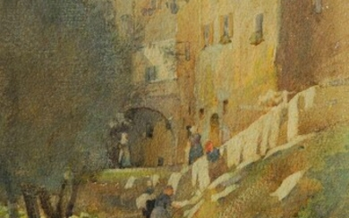 A E Martin, British, late 19th/early 20th century- View of a pathway along the edge of an Italian hill-top town; watercolour, signed and dated 1905, 24.5x16cm: David Birtwhistle, British b.1947- End of Terrace; watercolour, signed lower left, bears...