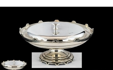 A Fine Sterling Silver Pedestal Dish and Cover, Supported on...