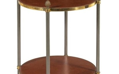 A French Steel and Brass Leather-Top Table in the Style
