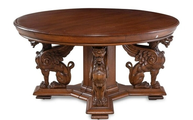A German Carved Oak Dining Table
