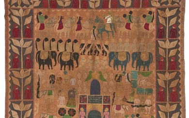 A Kanpuri Temple Hanging, Uttar Pradesh, India, early 20th century, with cotton applique and embroidery on cotton, depicting a temple scene with animals including horses, elephants and worshippers, 128 x 128cm. This panel was offered to the shrine...