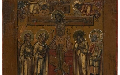 A MINIATURE ICON SHOWING THE CRUCIFIXION OF CHRIST