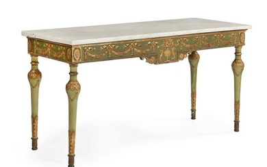A Neoclassical green painted console table