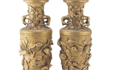 A PAIR OF CHINESE BRONZE VASES. 20TH CENTURY.