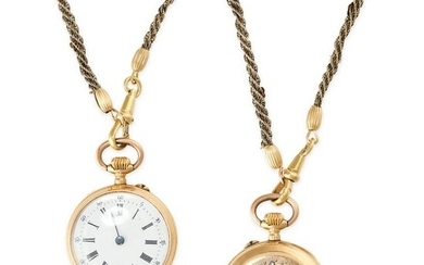 A PENDANT WATCH AND CHAIN, EARLY 20TH CENTURY the watch