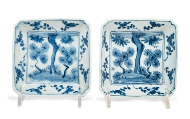 A Pair of Japanese Blue and White Porcelain Square