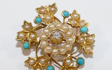 A Victorian gold, diamond, seed pearl and turquoise pendant ...