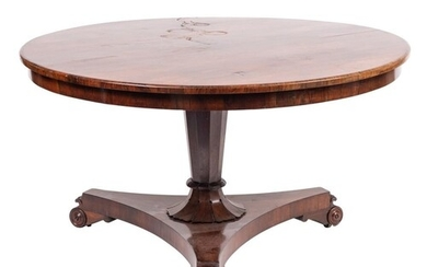 A Victorian rosewood circular breakfast table:, the snap top...