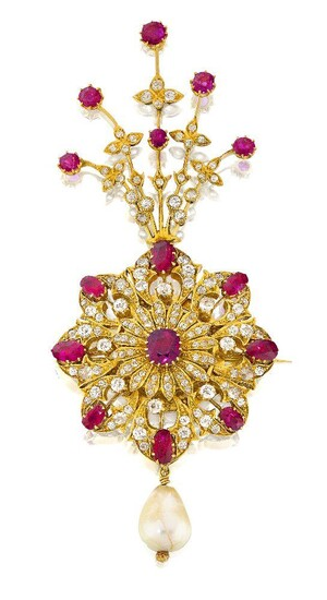 A diamond- and ruby-set gold sarpech formerly the property of the Maharaja of Patiala, Bhupinder Singh, Punjab, circa 1910, set with 133 diamonds, 15 Burmese rubies and a large natural pearl, in three parts; the detachable fan-shaped spray with...
