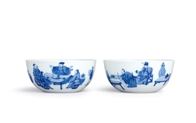A fine and rare pair of blue and white 'Eight Drunken Immortals' cups Seal marks and period of Qianlong | 清乾隆 青花飲中八仙歌詩意圖盃一對 《大清乾隆年製》款