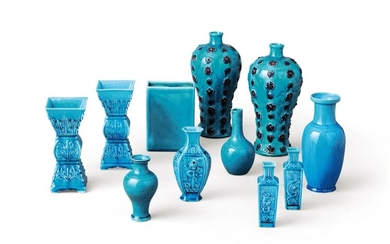 A group of eleven turquoise-glazed vases China, Qing dynasty, 18th-early 20th century