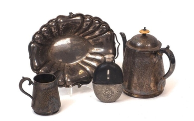 A large group of silver plated items including a Walker & hall posy vase; a hip flask; a swing-handled basket with scalloped edge; a shaped, circular plate; a twin-handled sugar and a quantity of flatware and oddments (a lot)