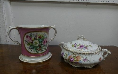 A large rare Staffordshire Loving Cup, the pink ground base ...