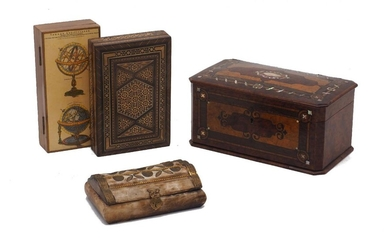 A marquetry and abalone inlaid tea caddy, 20th century, 25cm wide, together with a Middle Eastern parquetry box, an Italian box decorated with terrestrial and celestial globes and a brass mounted bone box (4)