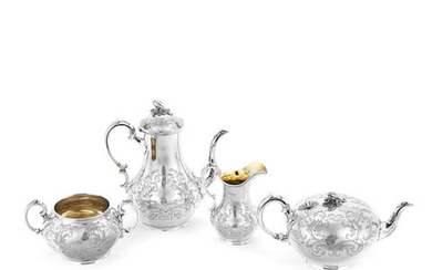 A matched Victorian three-piece silver tea and coffee service