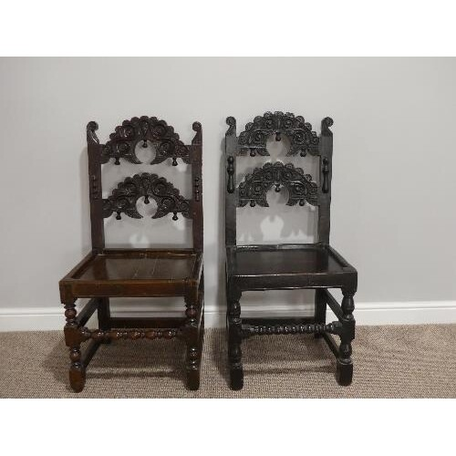 A near matched pair of 17thC oak Side Chairs, Yorkshire/Derb...